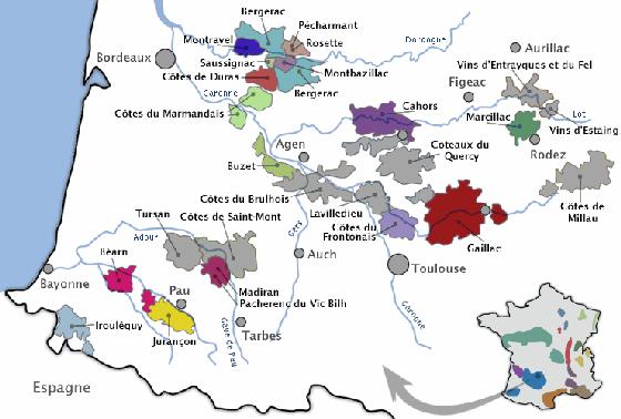 vins du sud ouest carte
